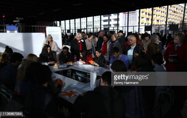 Attendees take part at the opening of the centenary program of the Bauhaus Dessau museum on February 23 2019 in Dessau Germany Germany is celebrating...