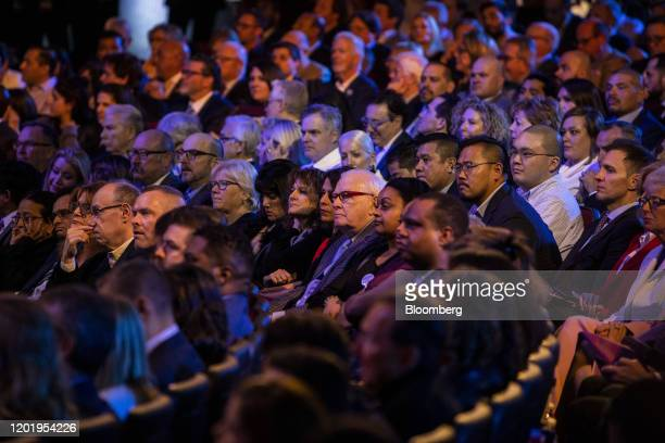 Attendees take their seat ahead of the Democratic presidential candidate debate in Las Vegas Nevada US on Wednesday Feb 19 2020 Beneath all of the...