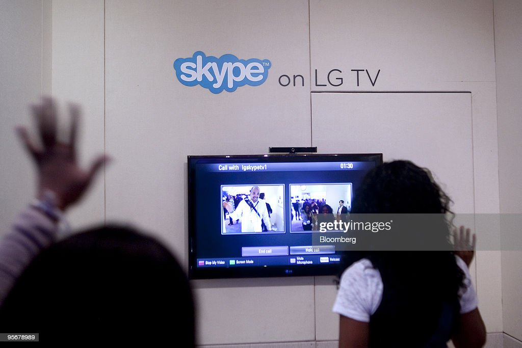 Attendees test the Skype Technologies SA video phone
