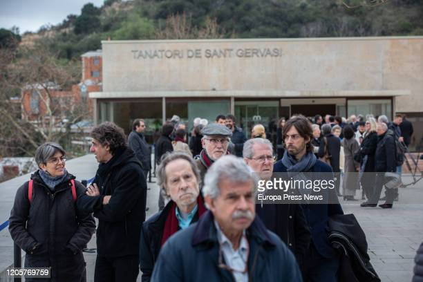Attendees to the funeral of Diana Garrigosa wife of the former president of Cataluña Pasqual Maragall at the Sant Gervasi Mortuary on February 12...