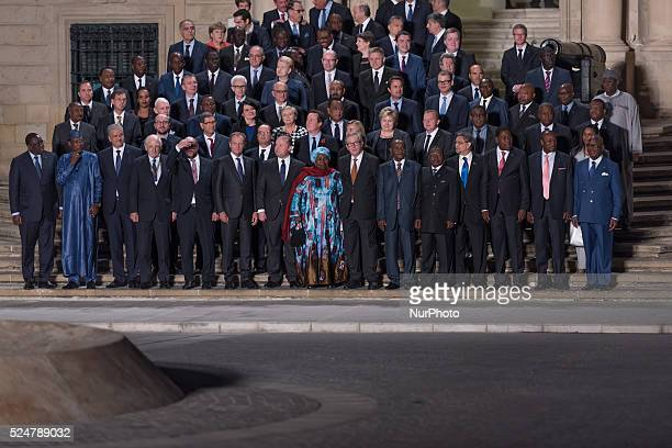 Attendees to the Valetta Summit on Migration are seen line up for a group photo during the opening ceremony at Auberge de Castille te Valletta, on...