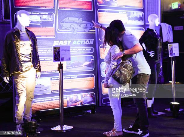 Attendees tour F9 exhibition at the F9 Fest event on the Universal Studios backlot celebrating F9: The Fast Saga on September 15, 2021 in Universal...