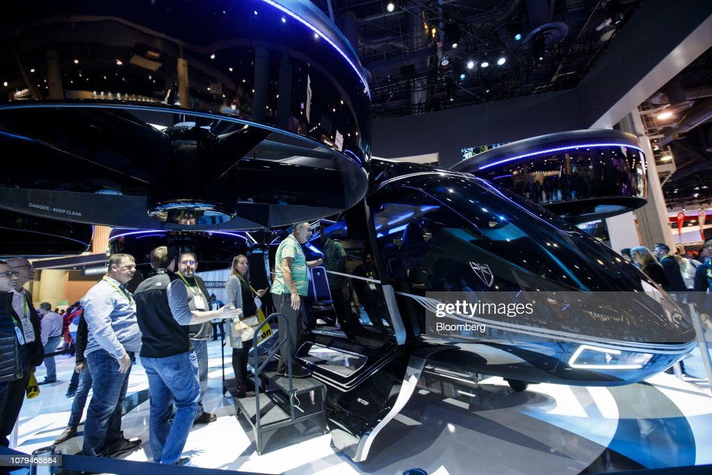 Attendees view a Bell Helicopter Textron Inc  Urban Air Taxi