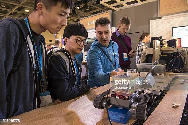 Attendees view a robot controlled by a computer at the Microsoft Developers Build Conference in San Francisco California US on Thursday March 31 2016...