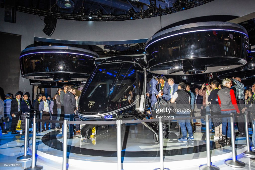 Attendees view the Bell Helicopter Textron Inc  Urban Air