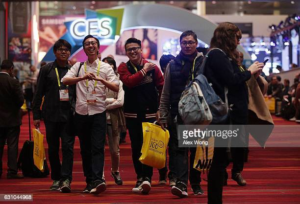 Attendees visit CES 2017 at the Las Vegas Convention Center on January 5 2017 in Las Vegas Nevada CES the world's largest annual consumer technology...
