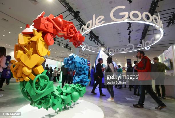 Attendees visit the Google booth at the 2019 GDC Game Developers Conference on March 20 2019 in San Francisco California The GDC runs through March 22