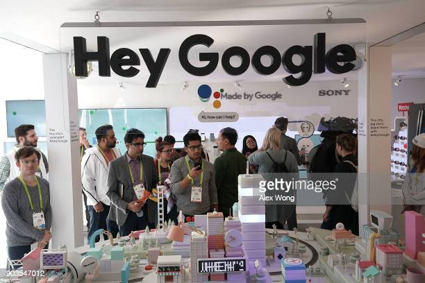 Attendees visit the Google booth during CES 2018 at the Las Vegas Convention Center on January 10 2018 in Las Vegas Nevada CES the world's largest...