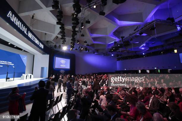 Attendees wait ahead of the special address by US President Donald Trump on the closing day of the World Economic Forum in Davos Switzerland on...