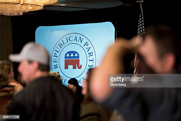 Attendees wait for election returns during an election night gathering for Iowa Senator Joni Ernst the Republican nominee for the US Senate in West...