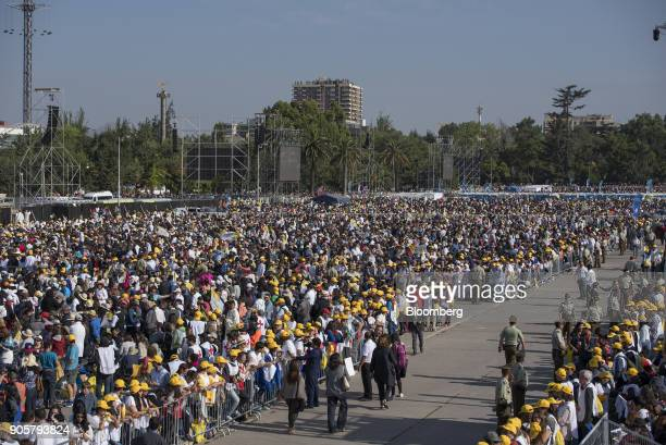 Attendees wait for Pope Francis not pictured to arrive for mass at O'Higgins Park in Santiago Chile on Tuesday Jan 16 2018 400000 Chileans attended...