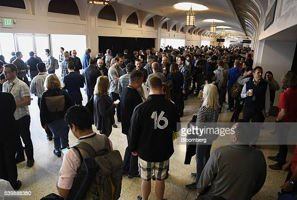 Attendees wait for the start of the Apple World Wide Developers Conference in San Francisco California US on Monday June 13 2016 Apple Inc has lost...