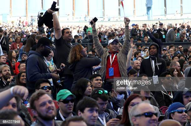 Attendees wait for the start of the opening keynote address at the Google I/O 2017 Conference at Shoreline Amphitheater on May 17 2017 in Mountain...