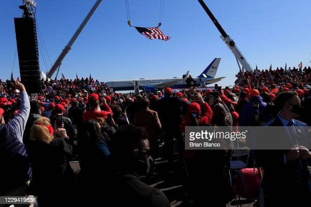 Attendees wait for U.S. President Donald Trump to deliver remarks during a campaign rally at Fayetteville Regional Airport on November 2, 2020 in...