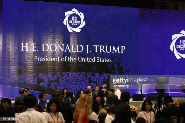 Attendees wait for US President Donald Trump's keynote address during the AsiaPacific Economic Cooperation CEO Summit in Danang Vietnam on Friday Nov...