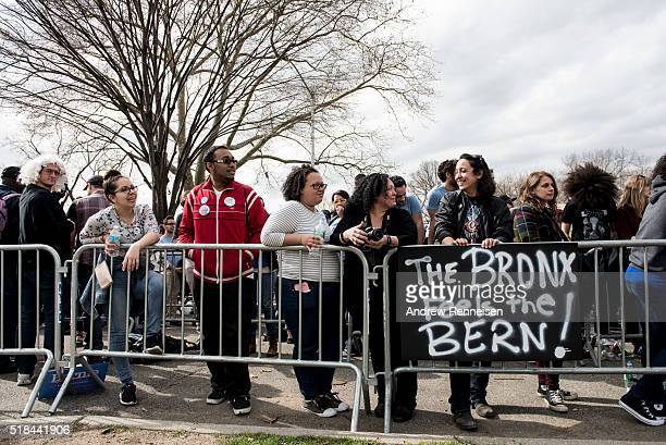 Attendees wait in line prior to a rally for Democratic Presidential Candidate Senator Bernie Sanders at St Mary's Park on March 31 2016 in the Bronx...