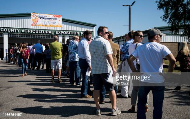 Attendees wait in line to enter the Southern Hemp Expo at the Williamson County Agricultural Exposition Park in Franklin TN on Friday Sept 6 2019