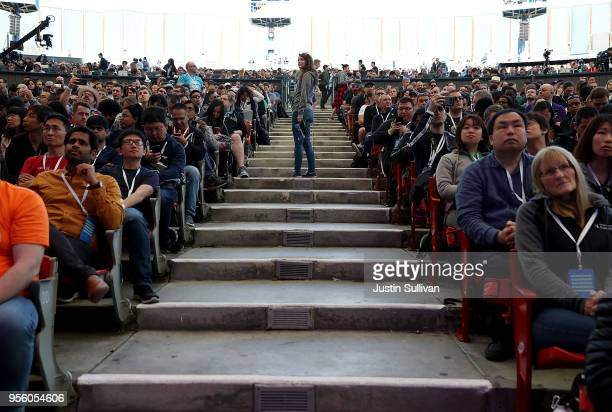 Attendees wait the start of the Google I/O 2018 Conference at Shoreline Amphitheater on May 8 2018 in Mountain View California Google's two day...