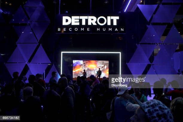 Attendees wait to play the 'Detroit Become Human' video game by Sony Interactive Entertainment during the E3 Electronic Entertainment Expo in Los...