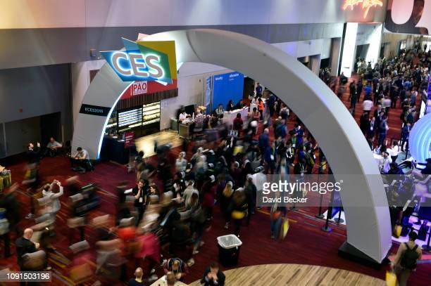 Attendees walk along during CES 2019 at the Las Vegas Convention Center on January 8 2019 in Las Vegas Nevada CES the world's largest annual consumer...