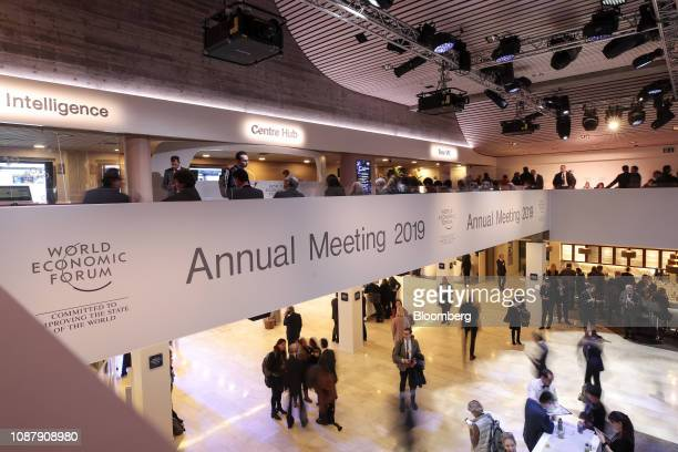 Attendees walk through the Congress Center on day three of the World Economic Forum in Davos Switzerland on Thursday Jan 24 2019 World leaders...