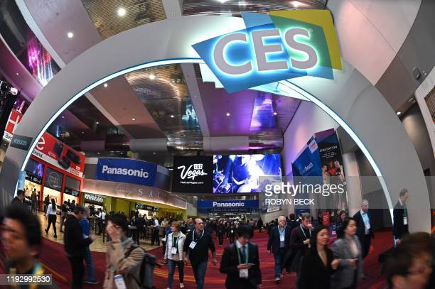 Attendees walk through the Las Vegas Convention Center January 10 2020 on the final day of the 2020 Consumer Electronics Show in Las Vegas Nevada