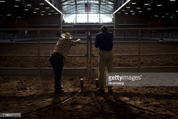Attendees watch a Future Farmers of America barrel racing event at the Iowa State Fair in Des Moines Iowa US on Thursday Aug 8 2019 The 2020...