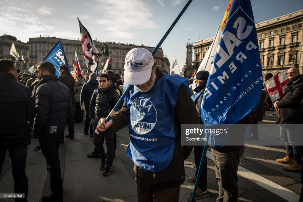 The League Leader Matteo Salvini Holds A General Election Campaign Rally