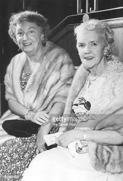 MAY 16 1959 Attending a recent performance of Guys and Dolls currently playing at Bonfils Memorial Theater were Mrs David Twiggs Chalmers and Mrs...