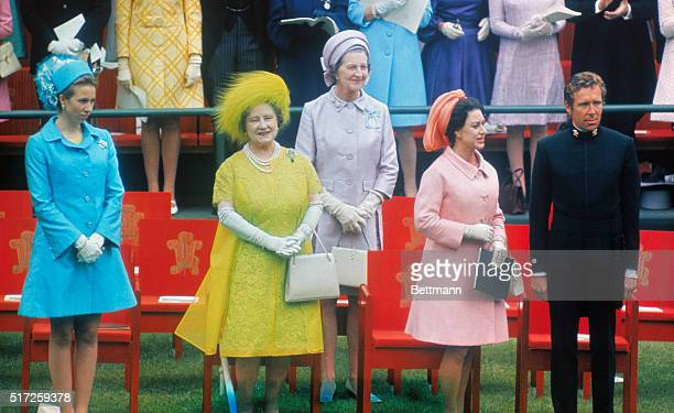 Attending Prince Charles' investiture as Prince of Wales at Caernarvon Castle are : Princess Anne; Queen Mother Elizabeth; Duchess of Abercorn,...