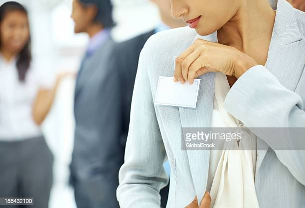 attending seminars and making contacts - name tag stock photos and pictures