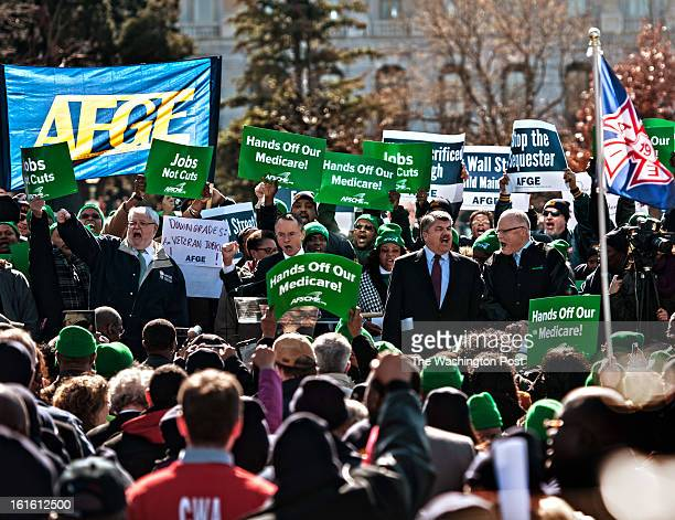 Attending the American Federation of Government Employees rally in Capitol Hill are AFGE National President J David Cox Sr Chuck Loveless AFSCME...