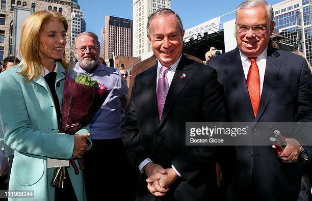 Attending the dedication of the Mother's Walk at the Rose F Kennedy Greenway in Boston were Caroline Kennedy Schlossberg Peter Meade chair of the...