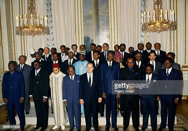 Attending the FrancoAfrican Summit in Paris are Malian president Moussa Traore Egyptian deputy Prime minister for foreign affairs Boutros Boutros...