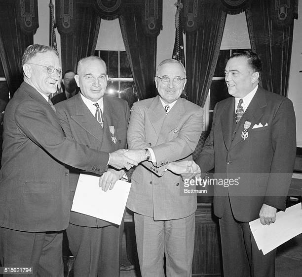 Attending the graduation exercises for the present class in the FBI National Police Academy were : Edsel Ford; FBI Director J. Edgar Hoover: General...
