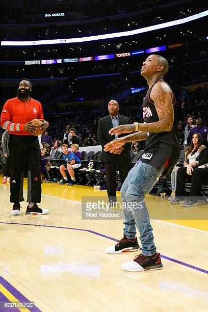 YG attends a basketball game between the Houston Rockets and the Los Angeles Lakers at Staples Center on October 26 2016 in Los Angeles California