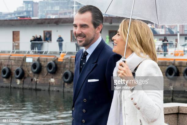 Prince Nikolaos Greece Princess Tatiana Greece attend a lunch on the Royal yacht Norge on the occasion of the celebration of King Harald and Queen...