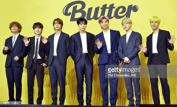 Attends a press conference for BTS's new digital single 'Butter' at Olympic Hall on May 21, 2021 in Seoul, South Korea.