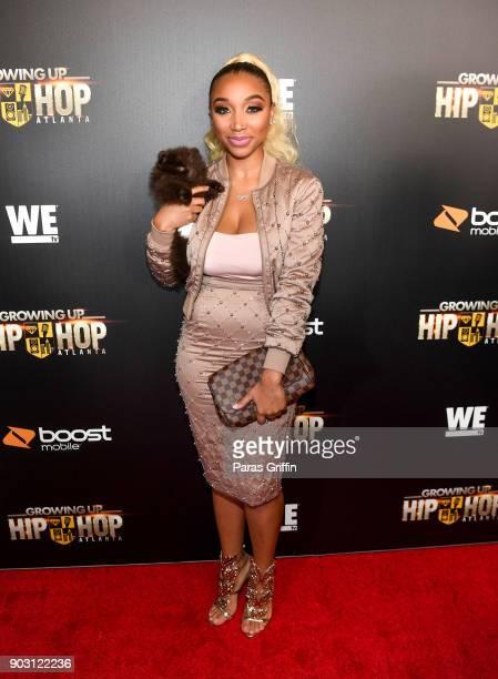 PULLINS attends Growing Up Hip Hop Atlanta season 2 premiere party at Woodruff Arts Center on January 9 2018 in Atlanta Georgia