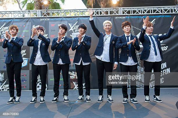 BTS attends KCON 2014 Day 2 at the Los Angeles Memorial Sports Arena on August 10 2014 in Los Angeles California