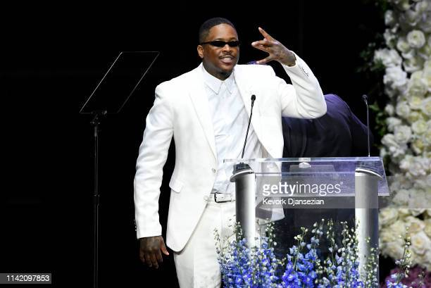 YG attends Nipsey Hussle's Celebration of Life at STAPLES Center on April 11 2019 in Los Angeles California Nipsey Hussle was shot and killed in...