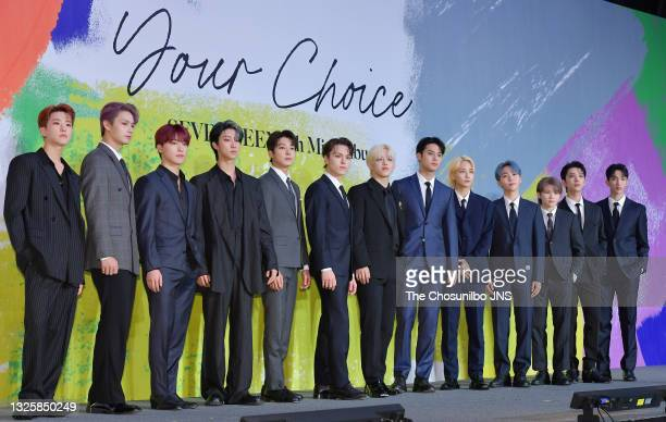 Attends SEVENTEEN's 8th Mini Album 'Your Choice' Release Press Conference at Intercontinental Seoul Coex Harmony Ballroom on June 18, 2021 in Seoul,...