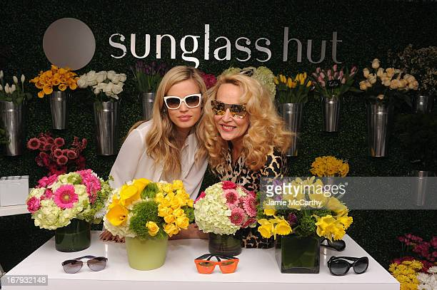 attends Sunglass Hut's Mother's Day celebration with Georgia May Jagger Jerry Hall at the 5th Avenue Flagship Store on May 2 2013 in New York City