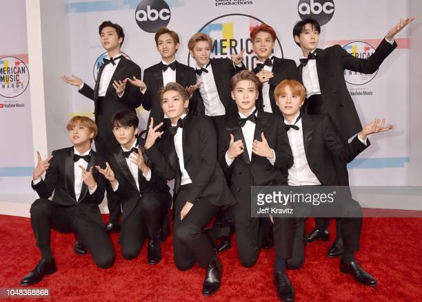 NCT 127 attends the 2018 American Music Awards at Microsoft Theater on October 9 2018 in Los Angeles California