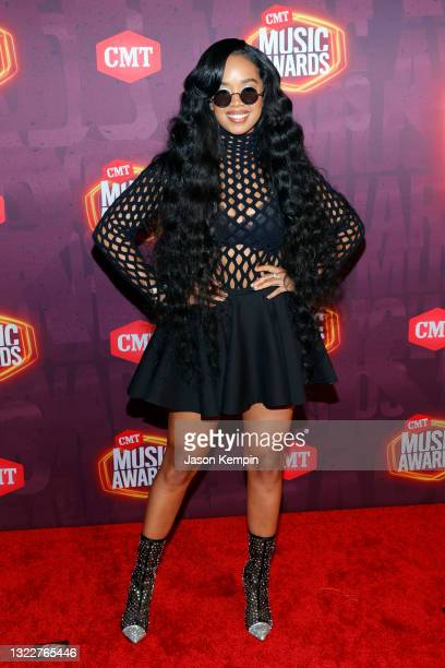 Attends the 2021 CMT Music Awards at Bridgestone Arena on June 09, 2021 in Nashville, Tennessee.