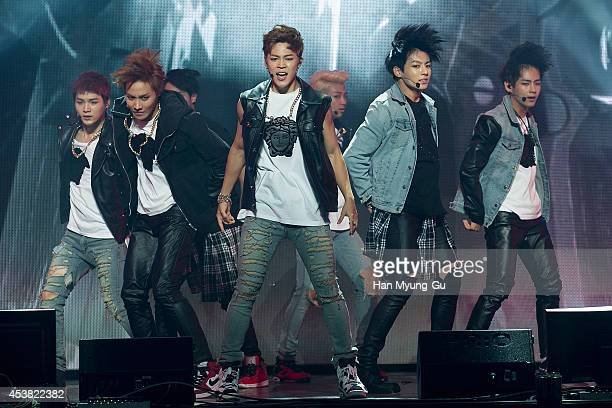 BTS attends the BTS 1st Album Dark And Wild Show Case at the Samsung Card Hall on August 19 2014 in Seoul South Korea
