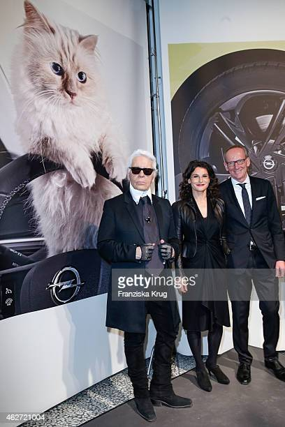 attends the 'Corsa Karl Und Choupette' Vernissage on February 03 2015 in Berlin Germany