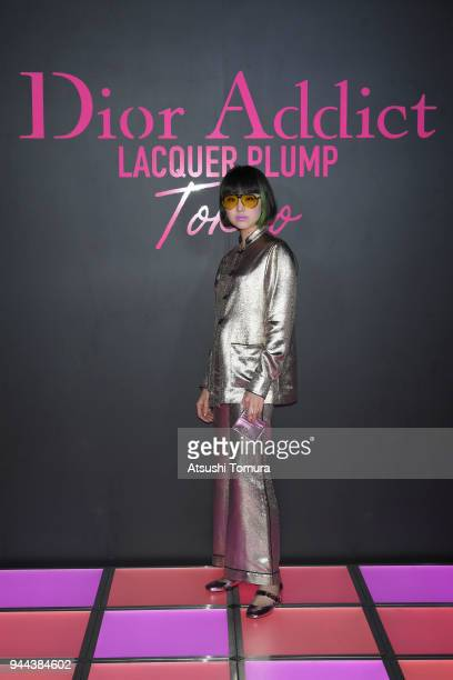 YJY attends the Dior Addict Lacquer Plump Party at 1 OAK on April 10 2018 in Tokyo Japan