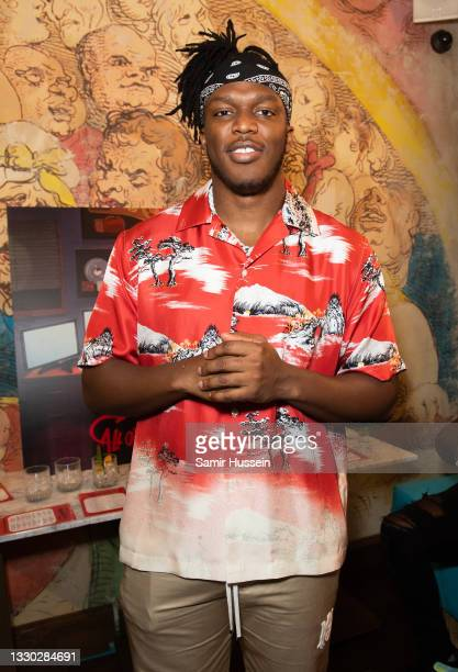 Attends the KSI Album Launch Party at Mrs Riot on July 23, 2021 in London, England.