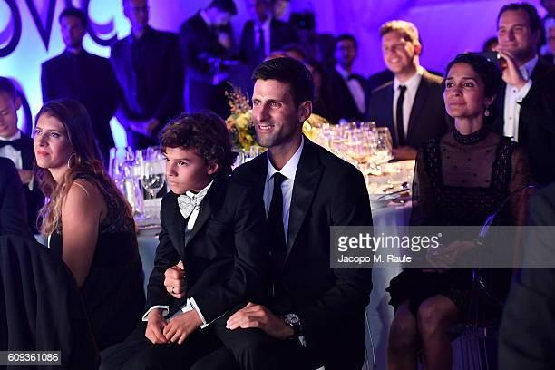Attends the Milano Gala Dinner benefitting the Novak Djokovic Foundation presented by Giorgio Armani at Castello Sforzesco on September 20, 2016 in...